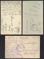 """BELGIUM 1915-18 WWI MILITARY THREE """"POSTES MILITIARE"""" POST CARDS"""