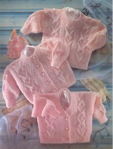 b92ff3321 Knitting Pattern-Heart Panel Textured Baby Cardigans   Sweater DK 16 ...