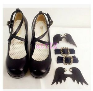 Lolita-Bowknot-Buckle-Womens-Pumps-Mary-Jane-High-Heel-BLock-Shoes-Platform-New