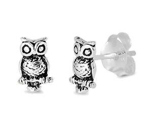 USA-Seller-Owl-Bird-Stud-Earrings-Sterling-Silver-925-Best-Deal-Plain-Jewelry