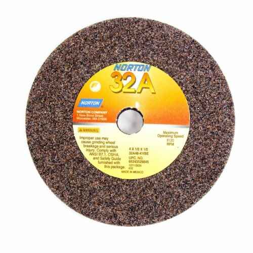 Type 1 Grinding Wheel 4 x 1//2 x 1//2 46 Grit Aluminum Oxide NORTON 66243529845