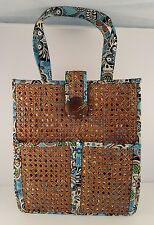 NWOT Vera Bradley Bali Blue & Hope Garden Structured Tiki Tote with Caning RARE