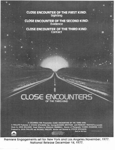 11 x 14 advance B&W poster CLOSE ENCOUNTERS OF THE THIRD KIND Steven Spielberg