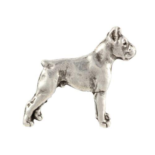 qualité supérieure Art Dog FR Boxer coupé silhouette broche couverte d'argent