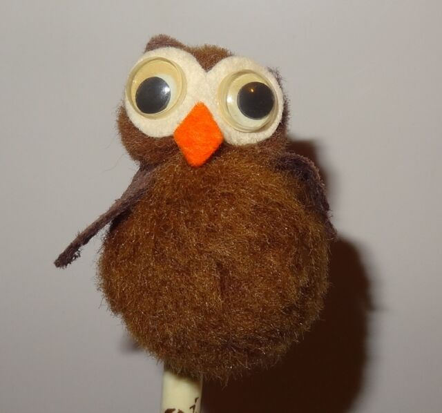 Vintage Owl cotton Ball Writing Pen Topper Finished Craft Project