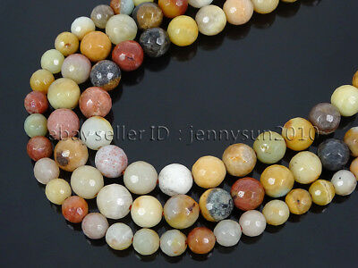 Natural Yellow Amazonite Gemstone Faceted Round Beads 16'' 4mm 6mm 8mm 10mm 12mm