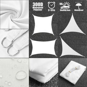 Sun-Shade-Sail-Outdoor-Patio-Top-Canopy-Cover-98-Anti-UV-Waterproof-White-US