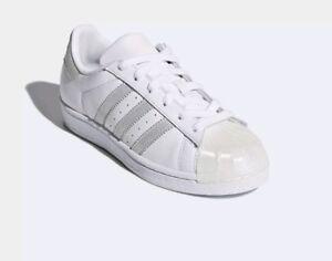 Rústico Humano esconder  Ladies Girls Adidas Originals Superstar White Silver Trainers CQ2702 UK  Size 3 | eBay