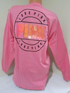 eecc77d5c01 BLING NEW Victoria Secret Pink Black V Mesh Orange Sequin PULLOVER ...