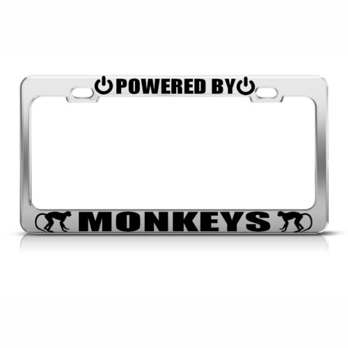 POWERED BY MONKEYS Chrome License Plate Frame Tag Border