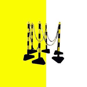 Kettenständer Set, Absperrung, Absperrpfosten<wbr/>, Kunststoffpfos<wbr/>ten, gelb schwarz