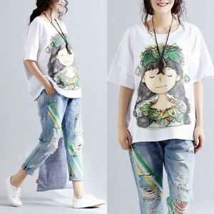 Lady-Loose-T-shirt-Blouse-Short-Sleeve-Casual-Top-Baggy-Oversized-Fashion-Casual