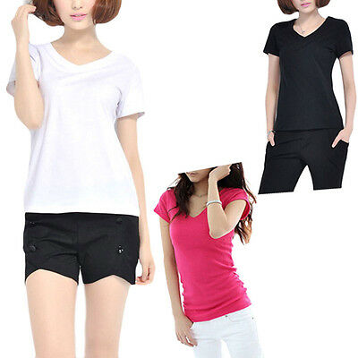 Fashion Women Slim Fit Cotton V-Neck Short Sleeve Casual T-Shirt Tops Pop