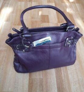 Tignanello Leather Handbag Purple Qvc