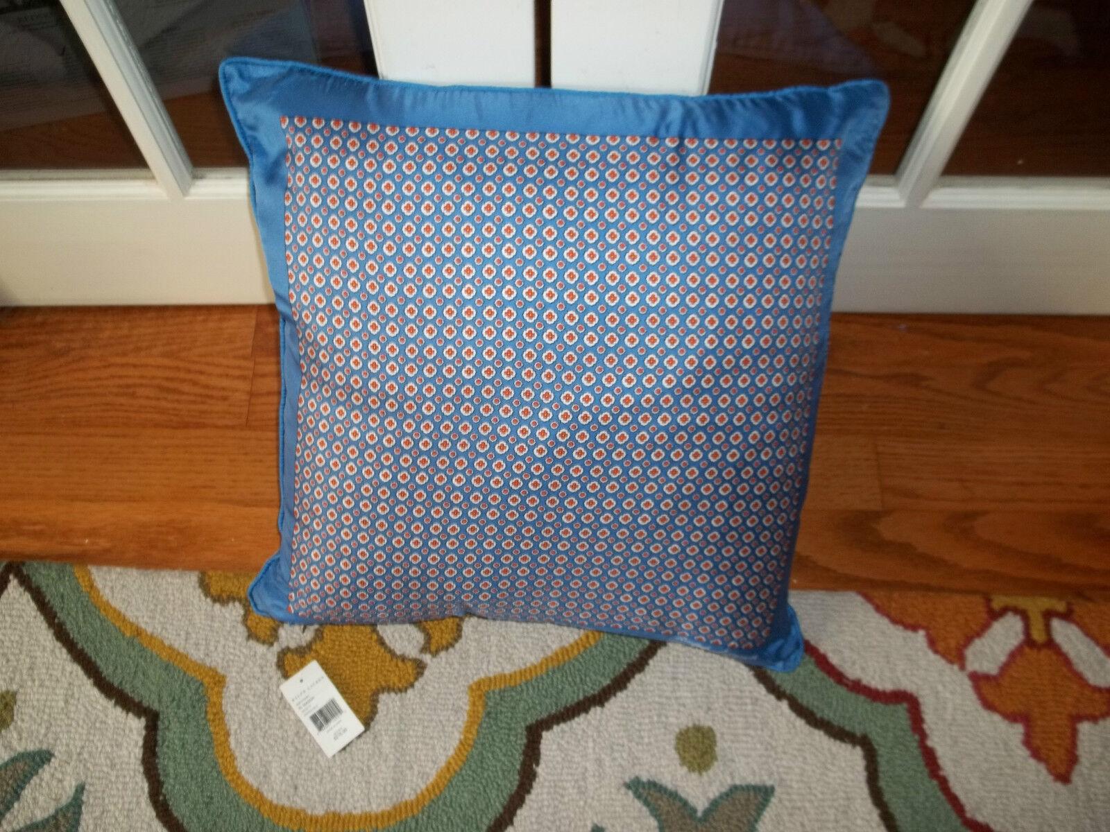 Ralph Lauren Mason 100% Silk French bluee Foulard Decorative Pillow 20x20