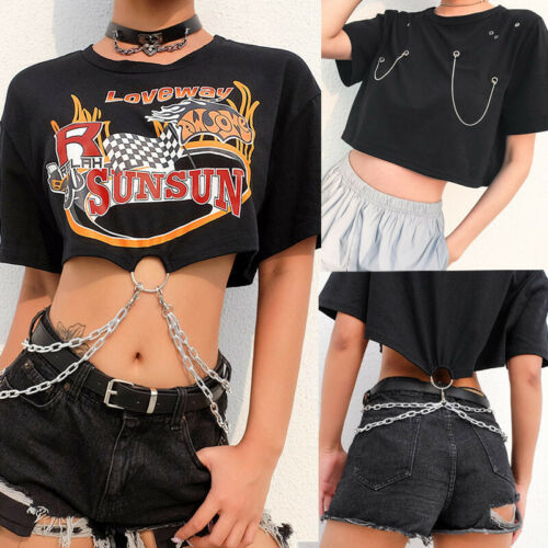 Women Gothic Punk Style Chain T-shirts Short Sleeve Blouse Dark Short Tee Tops