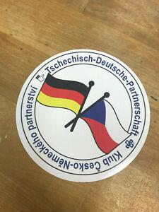 Aufkleber-Tschechisch-Deutsche-Partnerschaft-NEU-Rund-Sticker-wetterfest-CZ-Germ