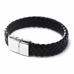 Men-Punk-Stainless-Steel-Leather-Clasp-Cuff-Braided-Wristband-Bangle-Bracelet