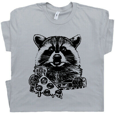 fc02dc35cc Raccoon T Shirt Funny Beer Tee Retro Vintage Camping Pizza Graphic National  Park | eBay