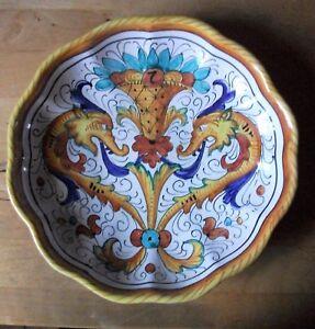 Deruta-Italien-grosse-Keramik-Majolika-Teller-Raffaellesco-Drachen