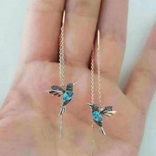 2Paar Kolibri Ohrringe Ohrstecker Threader Long Quaste Crystal Dangle Großhandel