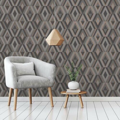 Diamond Shard Wallpaper Grey Rose Gold Geometric Metallic Fine Decor