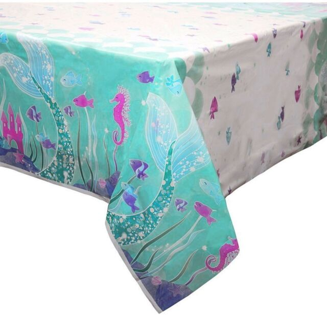 MERMAID GIRLS PARTY SUPPLIES PLASTIC TABLECLOTH TABLE COVER