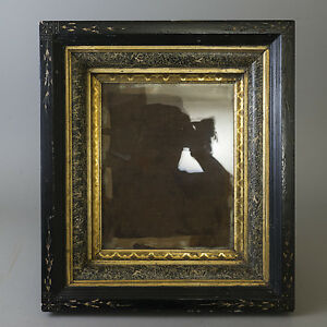 Antique-Carved-Wood-Shadow-Box-Frame-Gilt-Marbled-Victorian-Eastlake-Deep-Incise