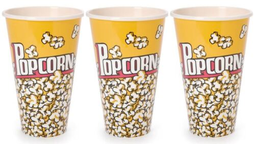 Set of 3 Large Reusable Plastic Popcorn Tubs Container Movie Theater Bowl