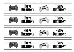 Xbox-PS-Controller-Happy-Birthday-Edible-Ribbon-Cake-Decorating-Icing-x-4-Strips