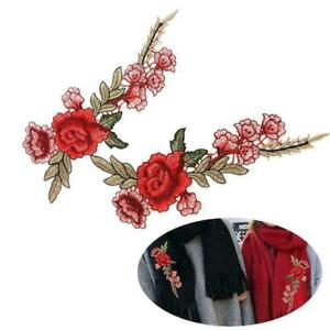 2Pcs//Set Embroidery Red Rose Flower Sew Iron Badge Clothes Fabric Applique New