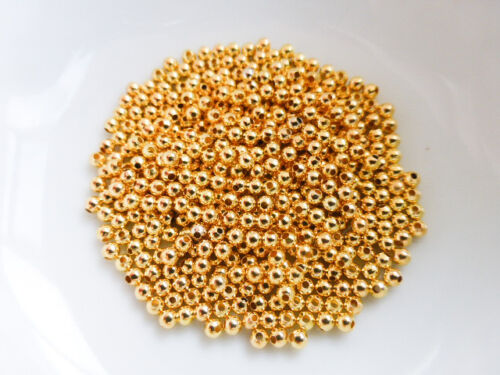 MB48 Approx 500 8g x 2mm Round Spacer Beads Gold Colour Findings Beads Metal