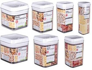 Image Is Loading Airtight Stackable Square Food Storage Jars Canisters  Containers