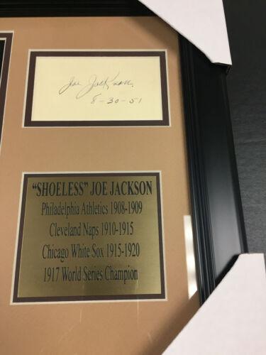 SHOELESS JOE JACKSON Autographed Cut REPRINT Framed 8x10 Photo BLACK SOX