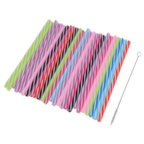 25pcs Plastic Drinking Straws Retro Stripe Print for Birthday Wedding Party