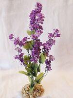 Artificial Aquarium Purple Silk Flower Plant With Stone Base
