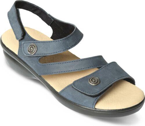 Sandales Bleu Marine Padders Madère femme cuir Touch Attache Large E Fit