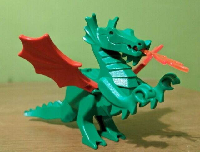 LEGO VINTAGE BLACK DRAGON FIGURE W// TRANSPARENT ORANGE WINGS CASTLE ANIMAL MINT*