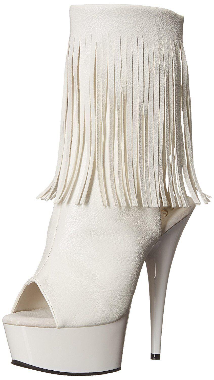 Pleaser Women's 9 White Delight 1019 Open Toe PU White Bootie shoes