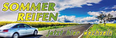 Banner Sommer Reifen Spannband 300 x 100 cm Werbung KFZ Auto Werbe Werkstatt