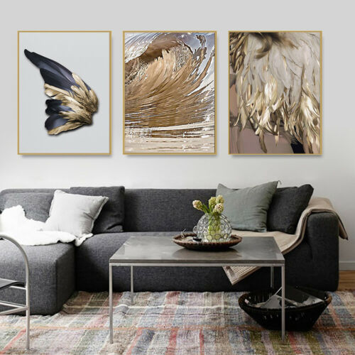 AM/_ Feather Sea Wave Canvas Painting Art Picture Poster Home Living Room Wall De