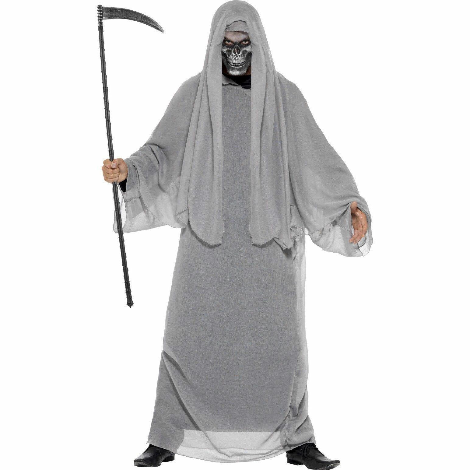 GREY GRIM REAPER HALLOWEEN COSTUME MENS GHOST SKELETON SCARY SCREAM HORROR ROBE