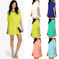 Women Ladies Oversized Chiffon Off Shoulder Loose T-Shirt Tops Blouse Mini Dress