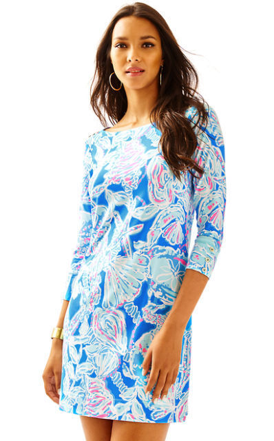 Neuf Lilly Pulitzer Upf 50+ Coton Sophie Robe Baie blue pink Into The Deep S