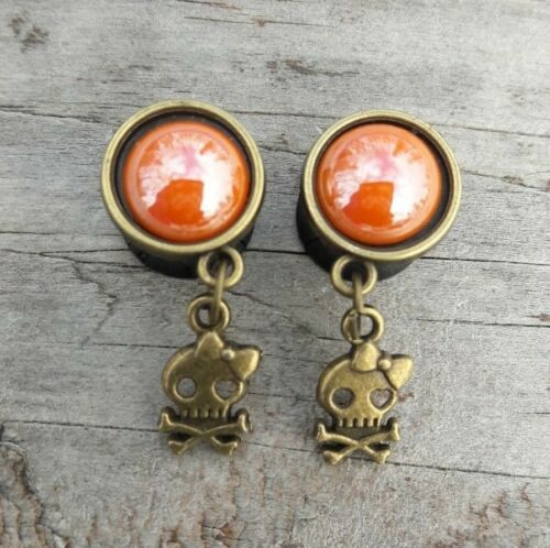 Pair of HANDCRAFTED DOUBLE FLARED SUGAR SKULL GIRL Dangle EAR Gauges