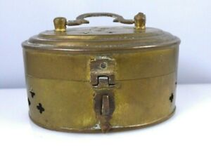 Vintage-Small-Brass-Cricket-Trinket-Box-With-Latch-Handle-Made-In-India-Rustic