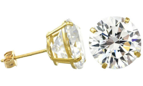 2.5ct each Solid 14K Yellow Gold AAA 5 Carats Total Weigh CZ Stud Earrings 9mm