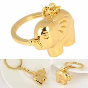 Vintage-Funny-Elephant-Gold-Keychain-Keyring-Key-Charm-Keyfob-Gift-Souvenir-O