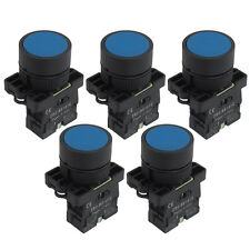 5PCS 22mm 1 NO N/O Blue Sign Momentary Push Button Switch 600V 10A