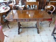 Scrittoio con alette Antico tavolino a bandelle NOCE restaurato allungabile '800